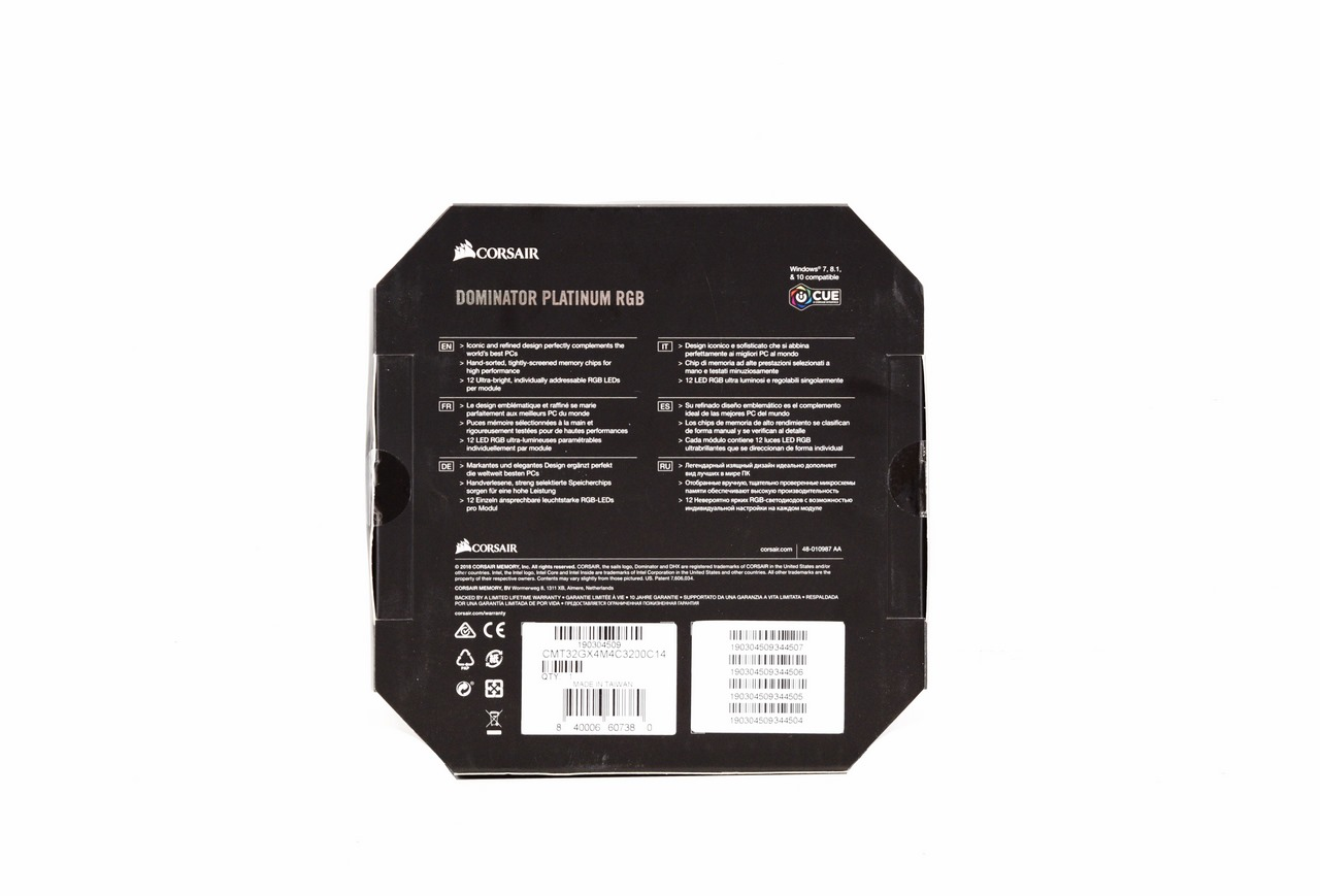 CORSAIR Dominator Platinum RGB 32GB DDR4 3200MHZ CL14 Quad