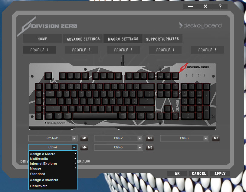 31c46accdfc You can also assign macros (commands, programs and more) to the 5 available  keys from within the control software. division zero x40 pro ...