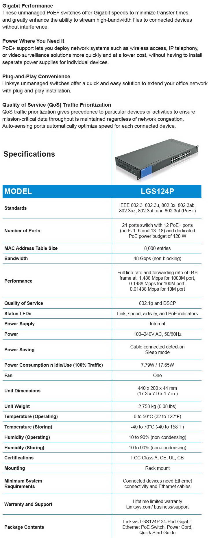 Linksys LGS124P 24-Port Business Gigabit PoE+ Switch Review
