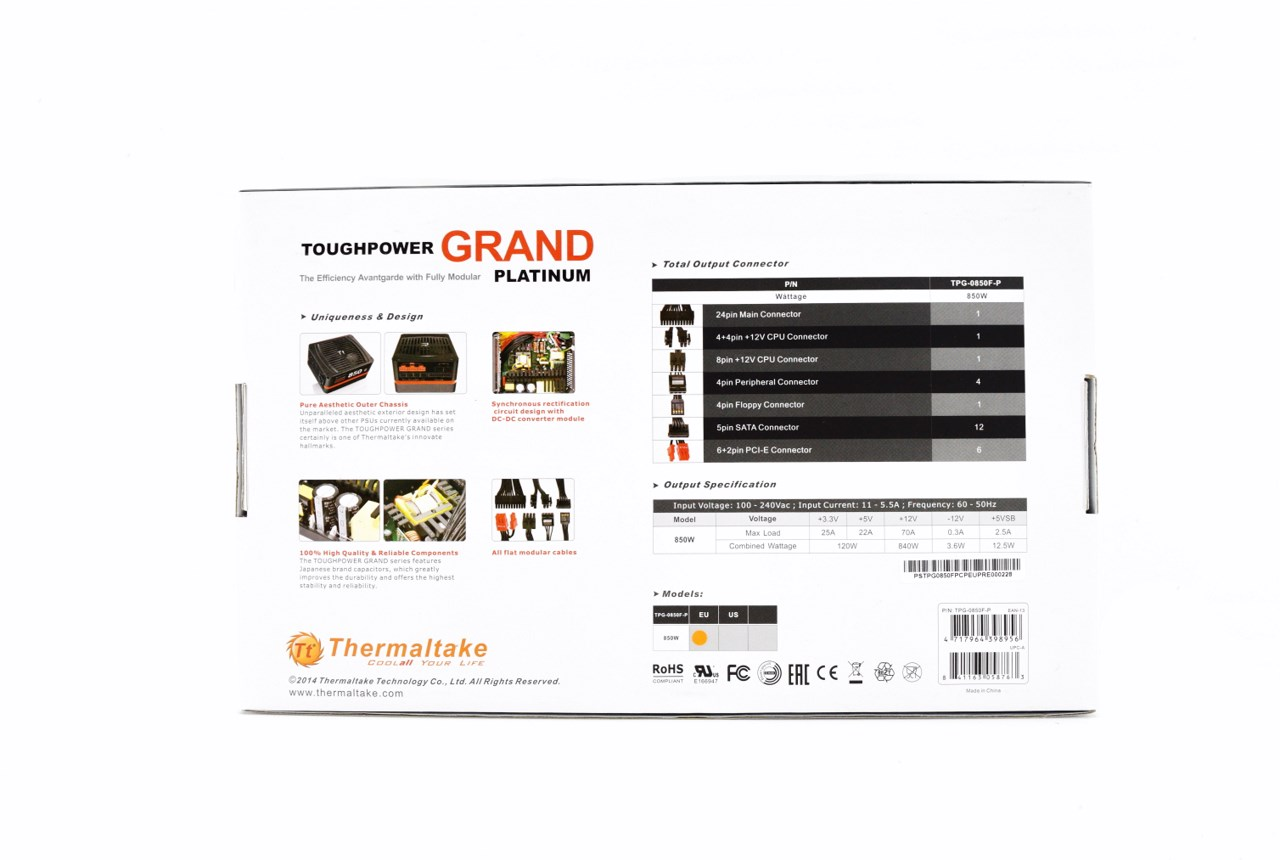 thermaltake toughpower grand platinum 850w power supply