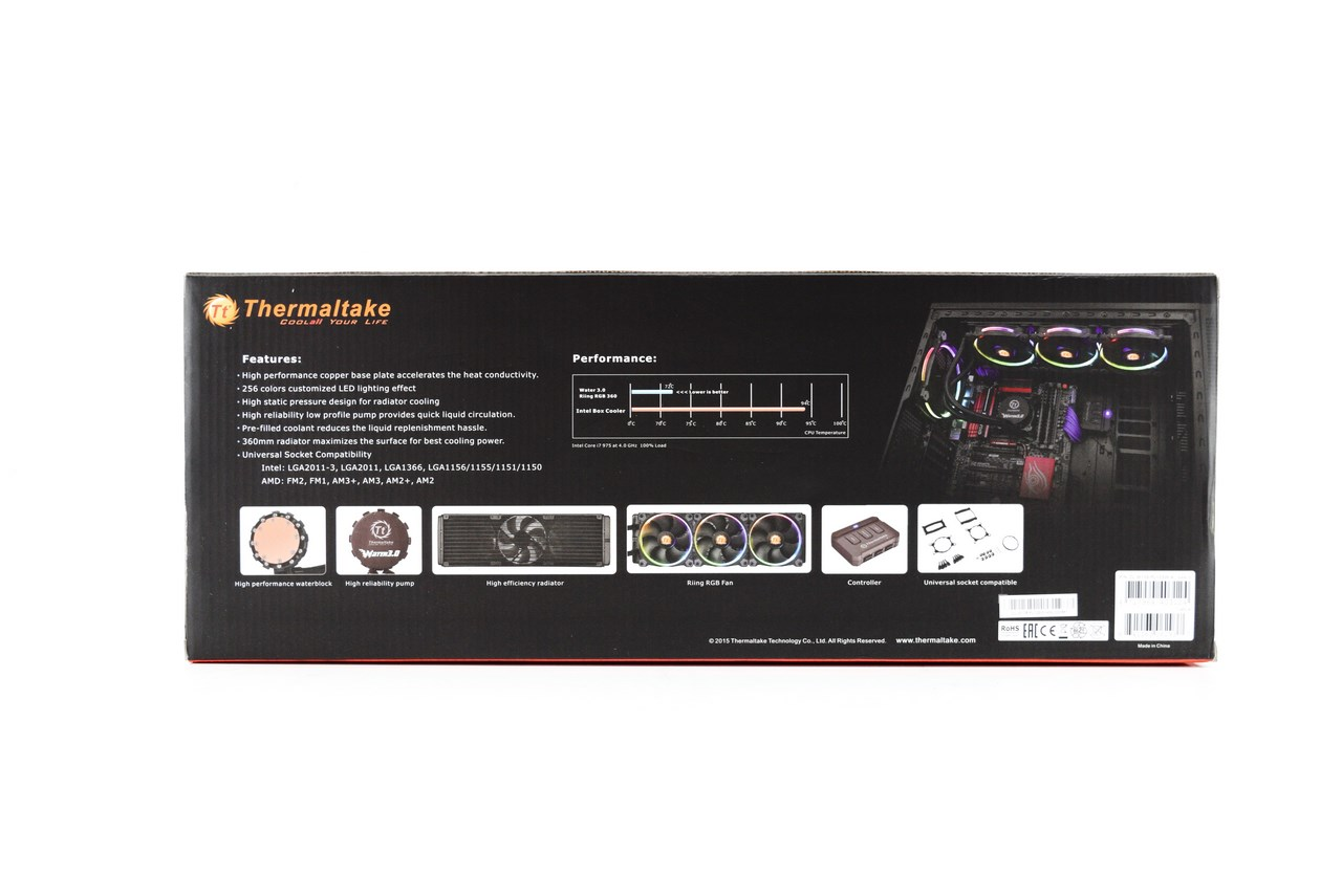 Thermaltake Water 30 Riing Rgb 360 Edition Liquid Cpu Cooler Review Am2 Lighting Diagram I Was Surprised To Find A More Detailed Specifications Table On The Base Of Box Than Product Page